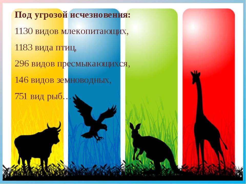 Под угрозой исчезновения: 1130 видов млекопитающих, 1183 вида птиц, 296 видов...