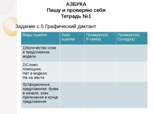 АЗБУКА Пишу и проверяю себя Тетрадь №1 Задание с.5 Графический диктант Виды о