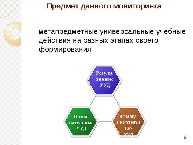 Предмет данного мониторинга метапредметные универсальные учебные действия на...
