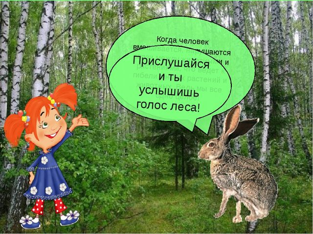 Когда человек вмешивается, нарушаются связи между животными и растениями, что...