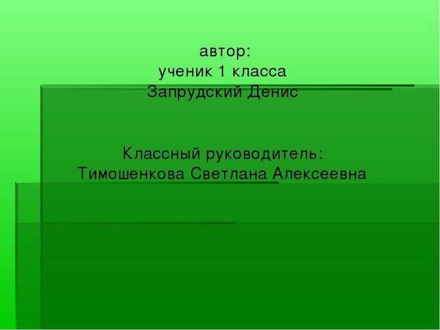 автор: ученик 1 класса Запрудский Денис Классный руководитель: Тимошенкова С...