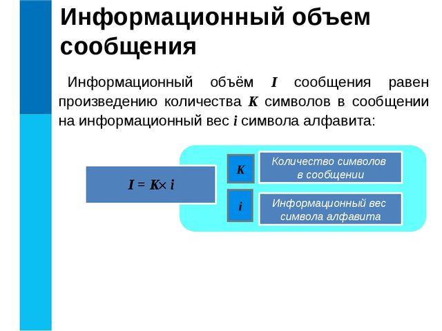 Информационный объем сообщения Информационный объём I сообщения равен произве...