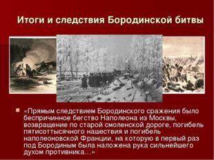 «Прямым следствием Бородинского сражения было беспричинное бегство Наполеона