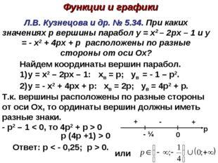 Л.В. Кузнецова и др. № 5.34. При каких значениях p вершины парабол y = x2 – 2