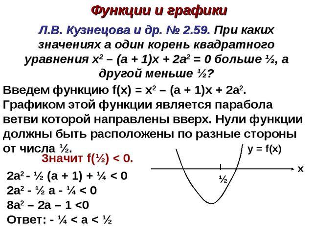 Л.В. Кузнецова и др. № 2.59. При каких значениях а один корень квадратного ур...