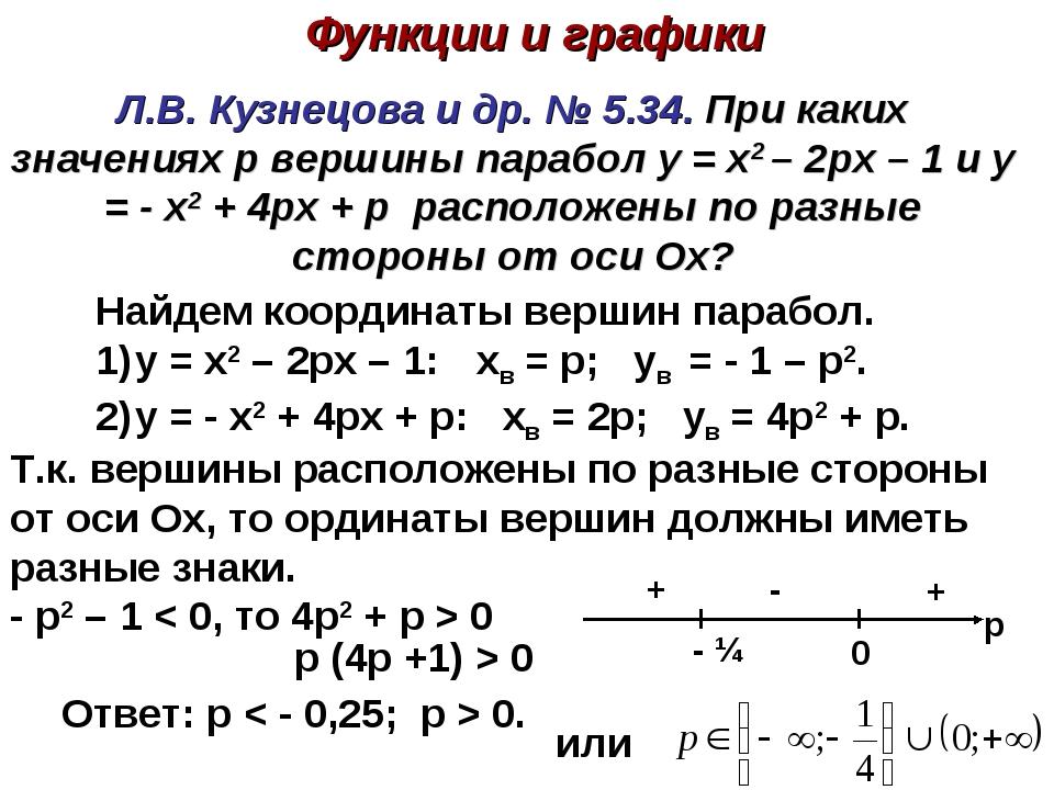 Л.В. Кузнецова и др. № 5.34. При каких значениях p вершины парабол y = x2 – 2...