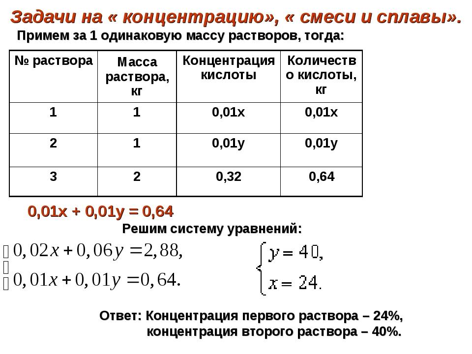 Задачи на « концентрацию», « смеси и сплавы». 0,01х + 0,01у = 0,64 Примем за...