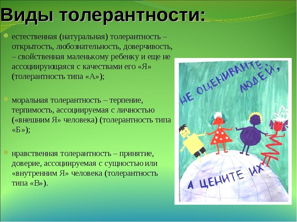 Виды толерантности: естественная (натуральная) толерантность – открытость, лю...