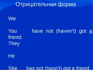 Отрицательная форма   We You have not (haven't) got a friend. They He She has