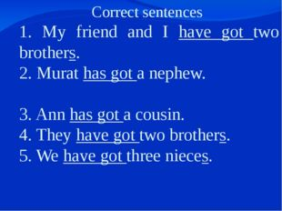 Correct sentences 1. My friend and I have got two brothers. 2. Murat has got