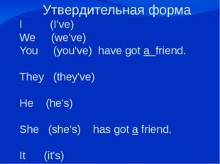 Утвердительная форма I (I've) We (we've) You (you've) have got a friend. They