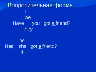 Вопросительная форма I we Have you got a friend? they he Has she got a frien