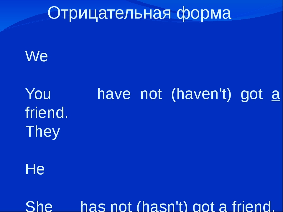 Отрицательная форма   We You have not (haven't) got a friend. They He She has...