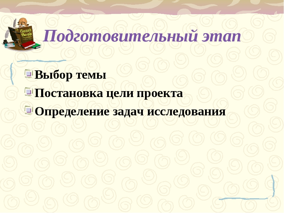 Подготовительный этап Выбор темы Постановка цели проекта Определение задач ис...