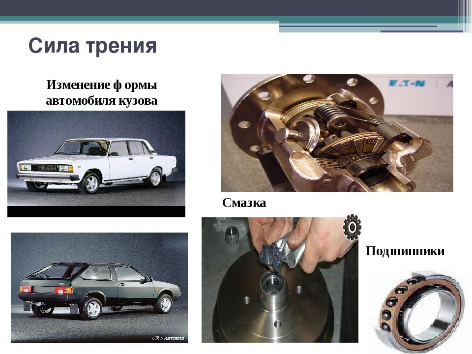 Сила трения Изменение формы автомобиля кузова Подшипники Смазка