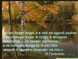 «Если будет вода, а в ней ни одной рыбки я не поверю воде. И пусть в воздухе