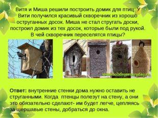 Витя и Миша решили построить домик для птиц. У Вити получился красивый скворе