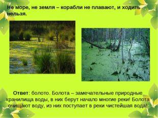 Не море, не земля – корабли не плавают, и ходить нельзя. Ответ: болото. Болот