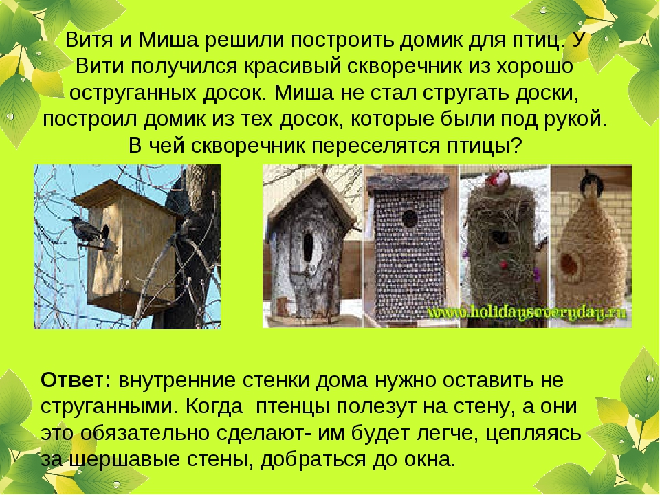 Витя и Миша решили построить домик для птиц. У Вити получился красивый скворе...