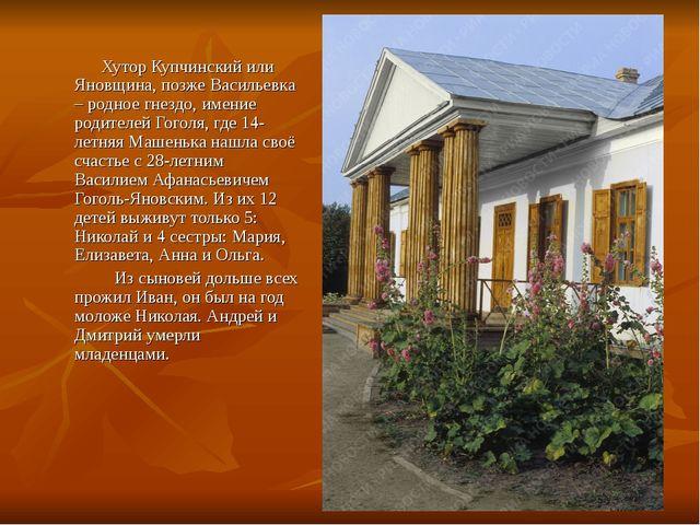 Хутор Купчинский или Яновщина, позже Васильевка – родное гнездо, имение роди...