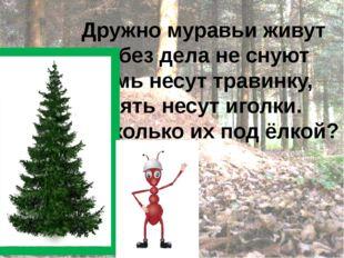 Дружно муравьи живут И без дела не снуют Семь несут травинку, Пять несут иго