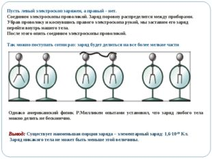 Пусть левый электроскоп заряжен, а правый – нет. Соединим электроскопы провол