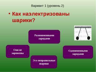 Вариант 1 (уровень 2) Как наэлектризованы шарики? Одноименными зарядами Это н