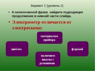 Вариант 1 (уровень 2) К неоконченной фразе найдите подходящее продолжение в н