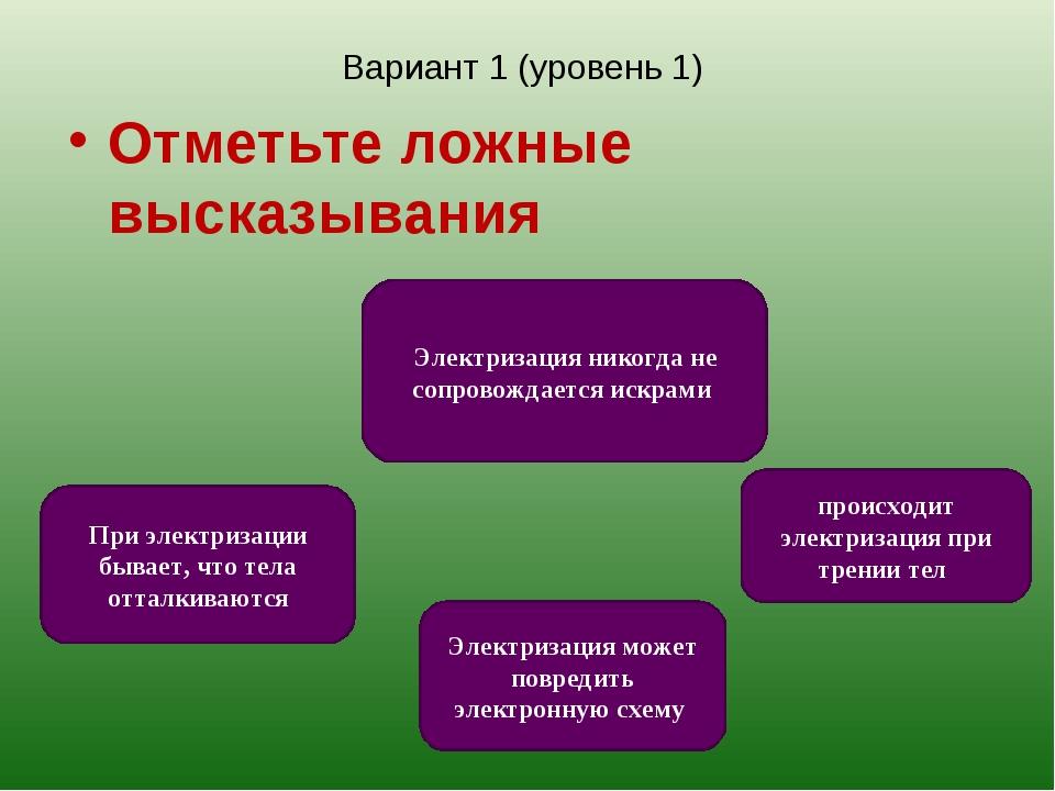 Вариант 1 (уровень 1) Отметьте ложные высказывания Электризация никогда не со...