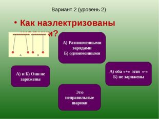 Вариант 2 (уровень 2) Как наэлектризованы шарики? А) оба «+» или «-» Б) не за