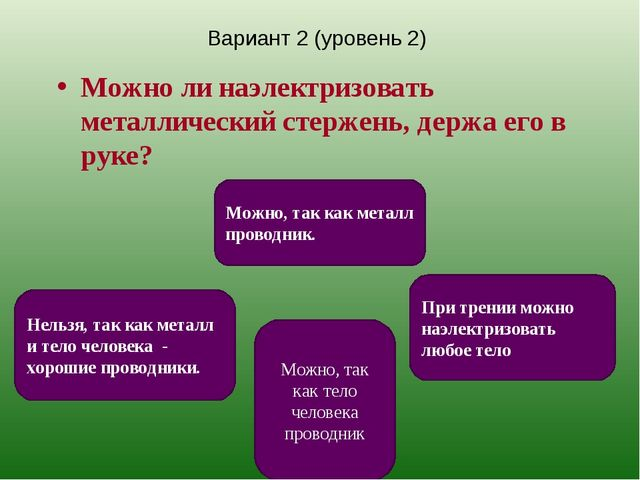 Вариант 2 (уровень 2) Можно ли наэлектризовать металлический стержень, держа...