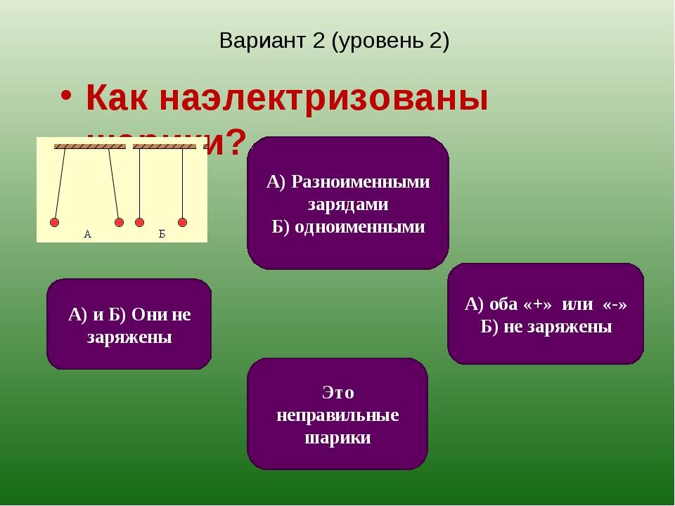 Вариант 2 (уровень 2) Как наэлектризованы шарики? А) оба «+» или «-» Б) не за...