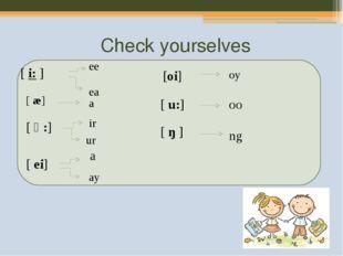 Check yourselves [i:] ee ea [ æ] a [ ə:] ir ur [ ei] a ay [oi] oy [u:] oo