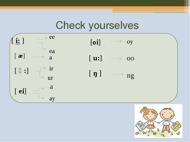 Check yourselves [i:] ee ea [ æ] a [ ə:] ir ur [ ei] a ay [oi] oy [u:] oo...