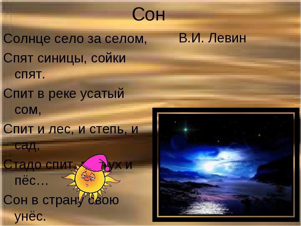 Сон В.И. Левин Солнце село за селом, Спят синицы, сойки спят. Спит в реке ус...