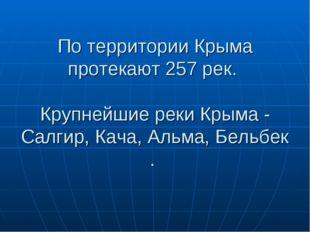 По территории Крыма протекают 257 рек. Крупнейшиереки Крыма - Салгир,Кача,