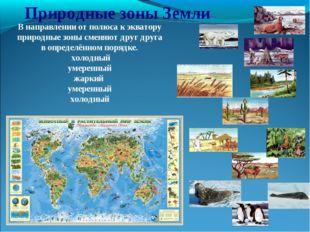 Природные зоны Земли В направлении от полюса к экватору природные зоны сменяю