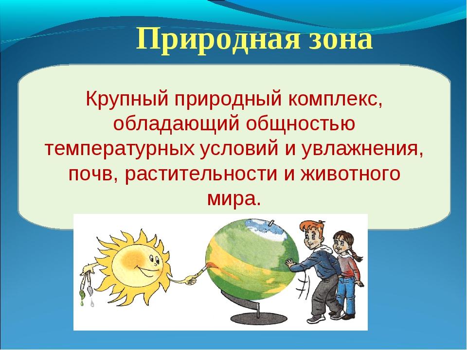 Природная зона Крупный природный комплекс, обладающий общностью температурных...