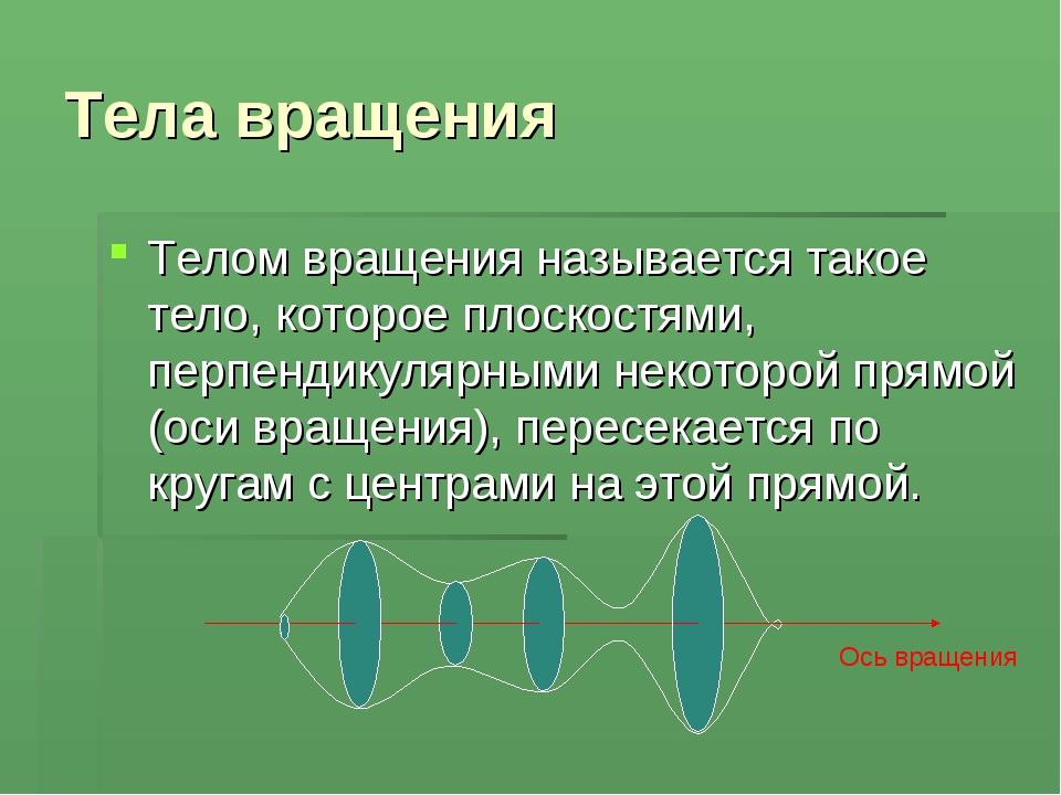Тела вращения Телом вращения называется такое тело, которое плоскостями, перп...
