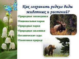Как сохранить редкие виды животных и растений? Природные заповедники Национал