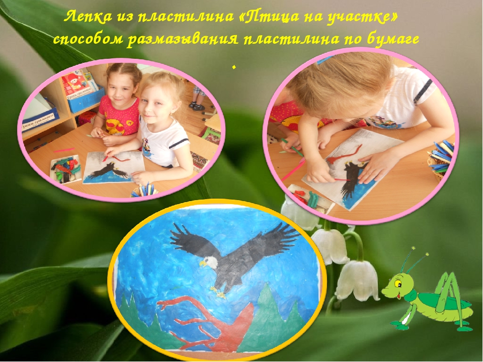 Лепка из пластилина «Птица на участке» способом размазывания пластилина по бу...