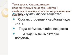 Тема урока: Классификация неорганических веществ. Состав и свойства основных