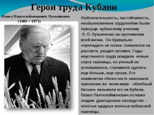 Герои труда Кубани Павел Пантелеймонович Лукьяненко (1901 – 1973) Любознатель