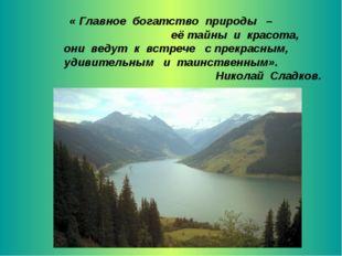 « Главное богатство природы – её тайны и красота, они ведут к встрече с прекр