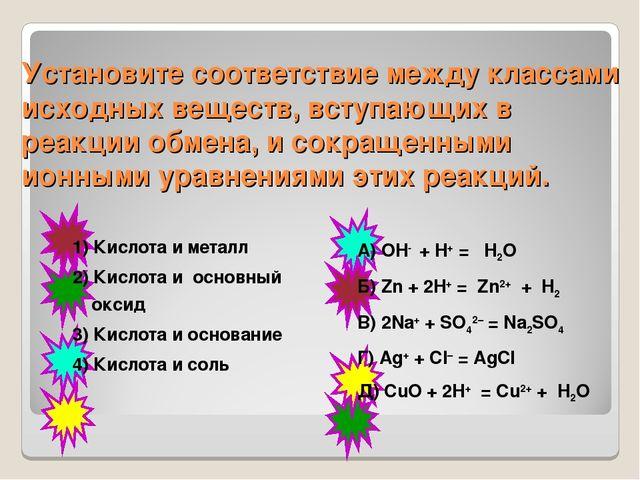 Установите соответствие между классами исходных веществ, вступающих в реакции...