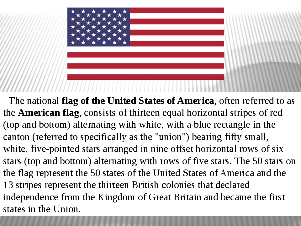 The national flag of the United States of America, often referred to as the ...