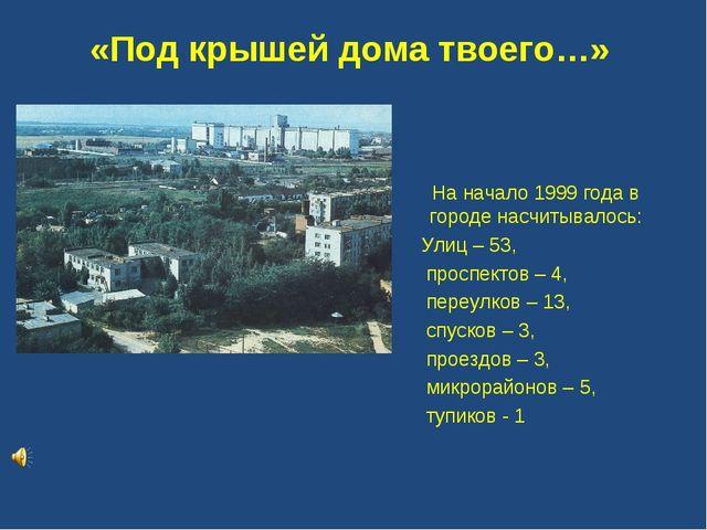 «Под крышей дома твоего…» На начало 1999 года в городе насчитывалось: Улиц –...