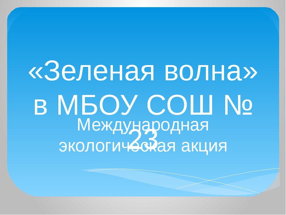 «Зеленая волна» в МБОУ СОШ № 23 Международная экологическая акция