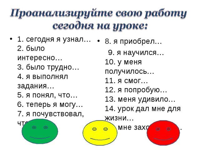 1. сегодня я узнал… 2. было интересно… 3. было трудно… 4. я выполнял задан...