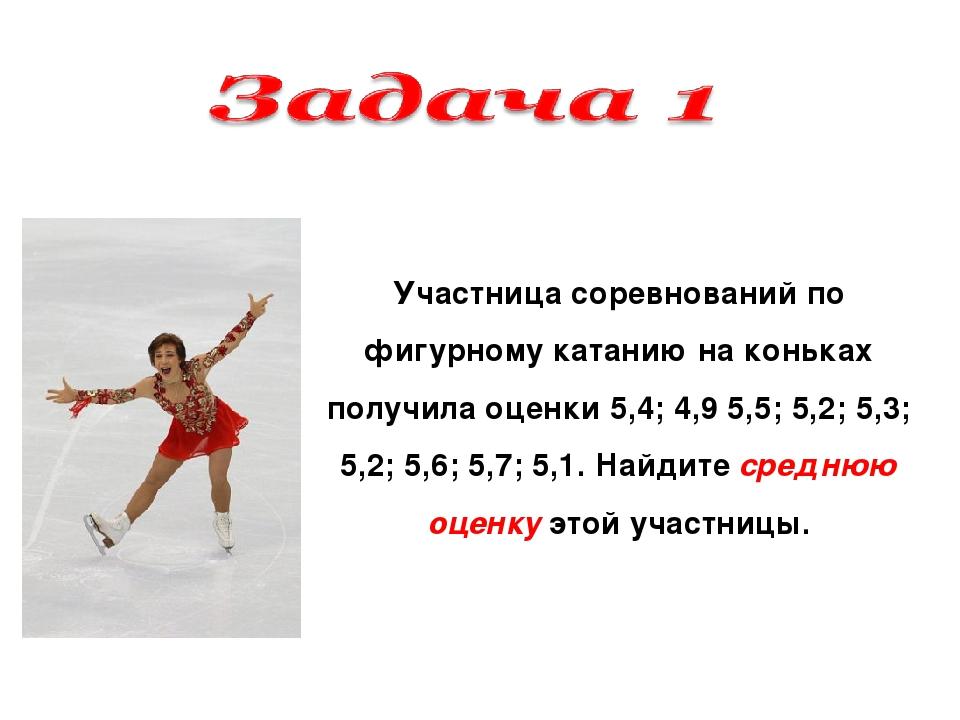 Участница соревнований по фигурному катанию на коньках получила оценки 5,4; 4...